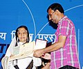 The President, Smt. Pratibha Devisingh Patil presenting the Rajat Kamal Award to Md. Nooral Sultan for the Best Assamese Film (Jetuka Patar Dare), at the 58th National Film Awards function, in New Delhi on September 09, 2011.jpg