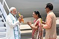 The Prime Minister, Shri Narendra Modi being welcomed by the Governor of Madhya Pradesh, Smt. Anandiben Patel and the Chief Minister of Madhya Pradesh, Shri Shivraj Singh Chouhan, on his arrival at Bhopal, in Madhya Pradesh.JPG