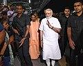 The Prime Minister, Shri Narendra Modi on a visit to the Manduadih Railway Station, in Varanasi, Uttar Pradesh on September 17, 2018. The Chief Minister of Uttar Pradesh, Yogi Adityanath is also seen.JPG