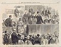 The Social Science Committee at Sheffield Sir Manockjee Cursetjee delivering his essay on education in India from the Illustrated London News 1865.jpg