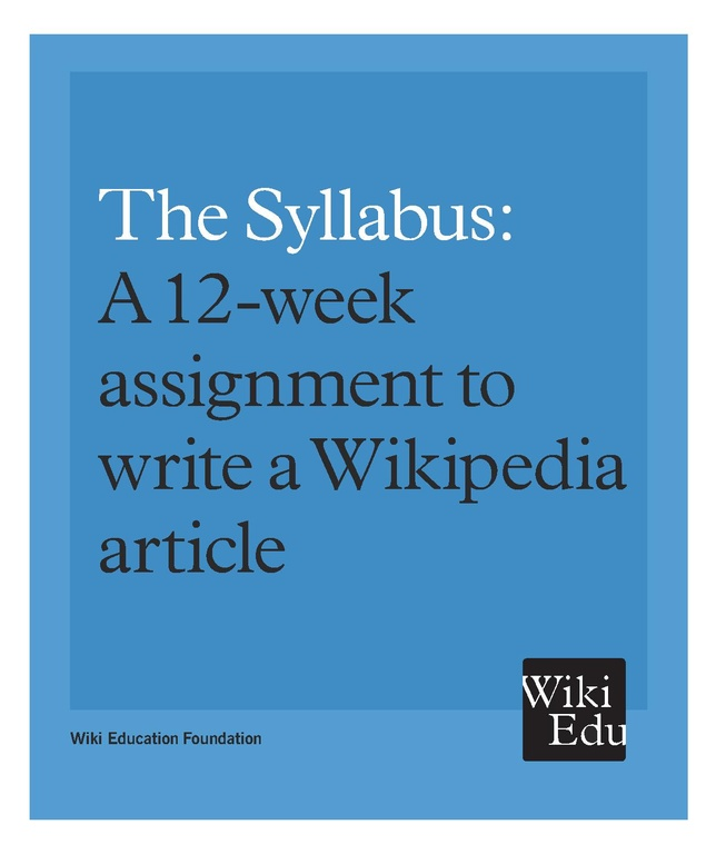 File The Syllabus A 12 Week Assignment To Write A