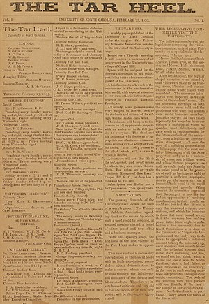 Tar Heel - Front page of the first issue of The Tar Heel, published on 23 Feb 1893. The paper was later renamed The Daily Tar Heel.