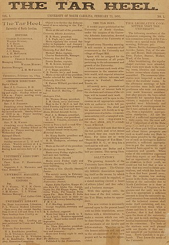 Student publication - Front page of the first edition of The Daily Tar Heel a student newspaper of University of North Carolina from 1892.