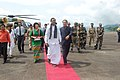 The Union Home Minister, Shri P. Chidambaram being welcomed by the Chief Minister of Mizoram, Shri Lal Thanhawla, at Zemabawk Helipad, Aizawl on May 25, 2010.jpg