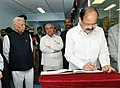 The Vice President, Shri M. Venkaiah Naidu signing the visitor's book, during his visit to the Centre for Nano Science Engineering, at the Indian Institute of Science, in Bengaluru, Karnataka.jpg