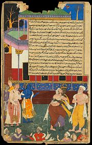 The blind Dhritarashtra attacks the statue of Bhima