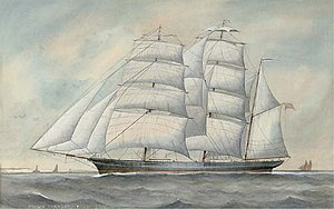 The clipper ship Cairngorm under full sail, English School, 19th century.jpg