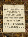 The first electric telegraph 8 miles long was constructed here in 1816 by Sir Francis Ronalds F.R.S.jpg