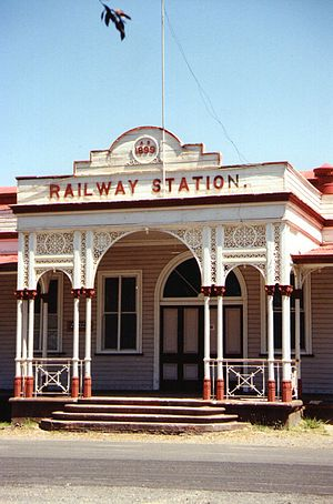 Central Western railway line, Queensland - The ornate entrance to Emerald railway station