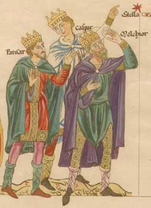 Biblical Magi - Herrad of Landsberg: The three Magi (named as Patisar, Caspar and Melchior), illustration from the Hortus deliciarum (12th century)
