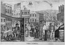A political cartoon, showing a poverty-stricken town, with the text blaming the Democrats for the ills