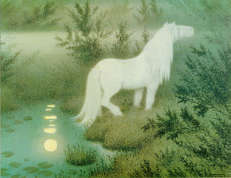 "Fantasy world - ""The Nix as a brook horse"" by Theodor Kittelsen: folklore transformed into a fantasy world"