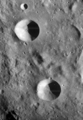 Theon Junior (crater) - Lunar Orbiter 4 image of Theon Senior (top) and Theon Junior (bottom)