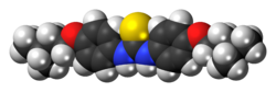 Space-filling model of the thiocarlide molecule