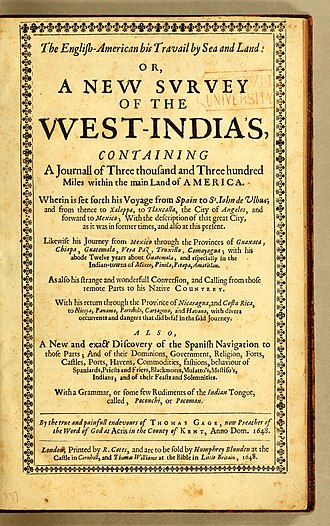 Thomas Gage (priest) - Title page, The English-American his travail by sea and land: or, A new survey of the West-Indies, London 1648