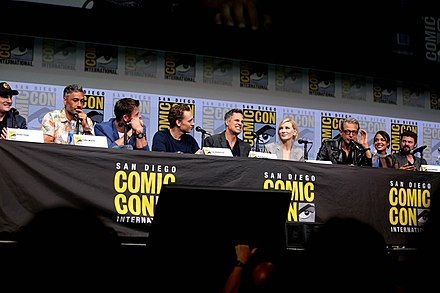 Kevin Feige, Taika Waititi and the cast of Thor: Ragnarok at the 2017 San Diego Comic-Con Thor Ragnarok by Gage Skidmore.jpg