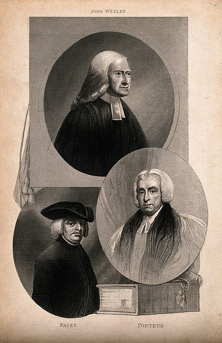 Three churchmen: John Wesley, William Paley, and Beilby Porteus. A posthumous engraving. Three churchmen; John Wesley, William Paley, and Beilby Port Wellcome V0006791.jpg