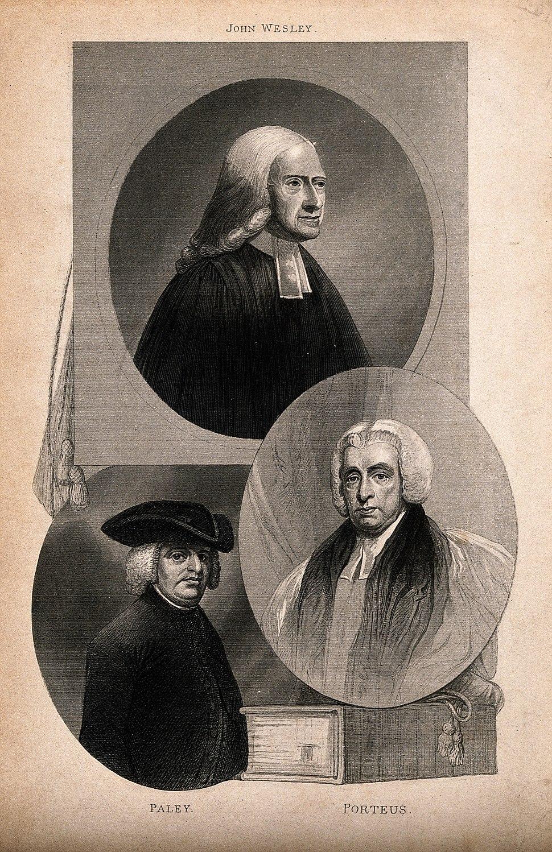 Three churchmen; John Wesley, William Paley, and Beilby Port Wellcome V0006791