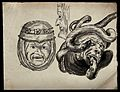 Three sketches of grotesque heads from misericords. Watercol Wellcome V0049517.jpg
