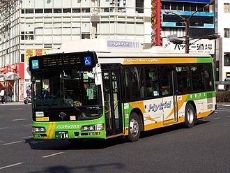 Hybrid electric bus - A Hino Blue Ribbon City hybrid Diesel-electric bus.