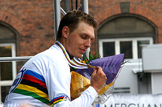 Tony Martin (cyclist) - Martin in the rainbow jersey after winning the time trial at the 2011 UCI Road World Championships.
