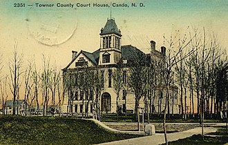 Towner County Courthouse - Towner County Courthouse, c. 1912, with tower