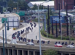 Motorcyclists fill eastbound I-76 for the 2002 Toys for Tots parade to benefit patients at Children's Hospital of Philadelphia