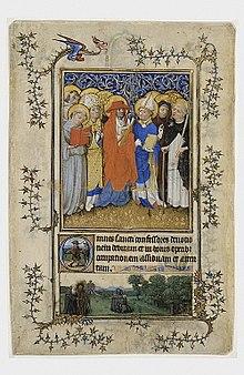 Eyckian landscape in the bas-de-page, below Gothic saints.