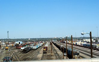 Rail freight transport - A typical U.S. classification yard in Denver, Colorado. Intermodal terminal is on the right.