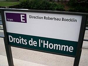 TramStrasbourg lineE DroitsHomme panneau