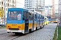 Tram in Sofia near Russian monument 011.jpg