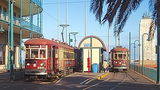 Glenelg tram - Two trams wait at the Moseley Square terminus prior to the reconfiguration of the stop