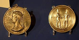 Treaty 7 - A brass medal commemorating the treaty in the Glenbow Museum, 1877.