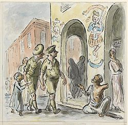 Troops in the Birka, 1942 cartoon