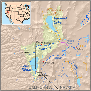 Map showing the Truckee River drainage basin.
