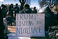 Trump Listens To Nickelback, a student participating in National Walkout Day at the White House, Washington DC (40767784032).jpg