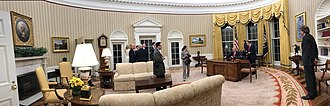 Oval Office grandfather clock - Image: Trump Oval Office panorama