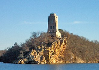 """South Central Oklahoma - Tucker Tower, on southern shore of Lake Murray, lies within """"Chickasaw Country""""."""