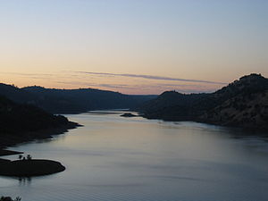 New Don Pedro Dam - Don Pedro Reservoir is seen at near full capacity in 2005