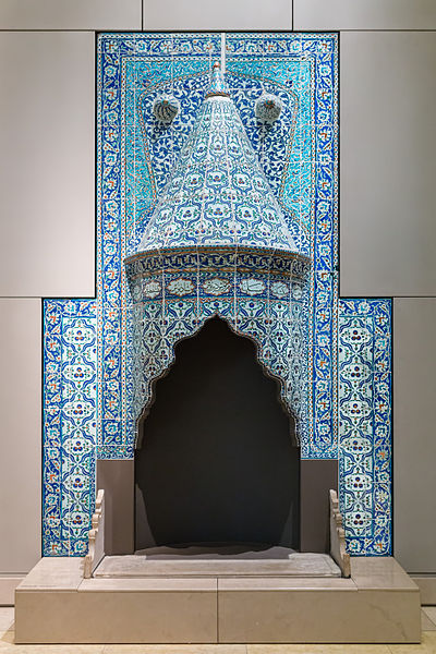 Tilework Chimneypiece, Turkey, probably Istanbul, dated 1731 Turkish Chimney Tilework, V&A Museum, London - Diliff.jpg