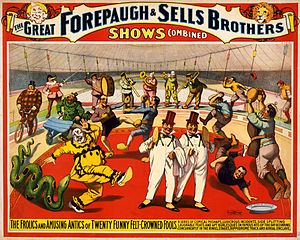 Adam Forepaugh - Image: Twenty funny felt crowned fools, poster for Forepaugh & Sells Brothers, 1899