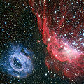 Two very different glowing gas clouds in the Large Magellanic Cloud.jpg