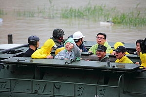 Chen Chu - Mayor Chen on a R.O.C. Marine Corps' AAV-7A1 Typhoon Fanapi rescue efforts.