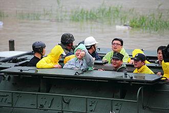Chen Chu - Mayor Chen on a R.O.C. Marine Corps' AAV-7A1 Typhoon Fanapi rescue efforts.