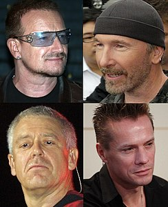 I U2: da l'alto a sànca in senso orario Bono, The Edge, Larry Mullen e Adam Clayton