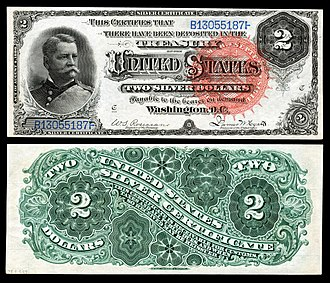 United States two-dollar bill - Series 1886 $2 Silver Certificate depicting Winfield Scott Hancock