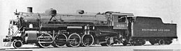 Mikado légère de l'USRA N°4500 du Baltimore and Ohio Railroad (photo prise en 1922)