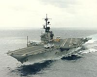 USS Coral Sea (CV-43) underway at sea on 1 March 1989 (NH 97651-KN).jpg