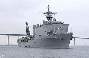 USS Germantown (LSD-42) makes wake in San Diego's harbor (22 Aug. 2003).