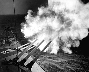 Armament of the Iowa-class battleship - USS Missouri fires her 16-inch guns